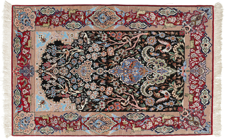 Isfahan silk warp pictorial carpet 170x110