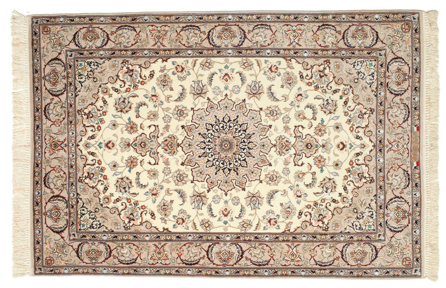 Isfahan silk warp signed: Ghenat carpet 158x108