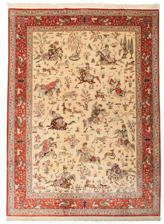 Qum silk pictorial signed: Qum Shirazi carpet 300x195