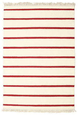 Dhurrie Stripe - Red & white carpet 200x140
