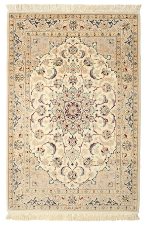 Isfahan silk warp signed: Davari carpet 161x107