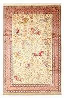 Qum silk pictorial signed: Javadi carpet VAE1